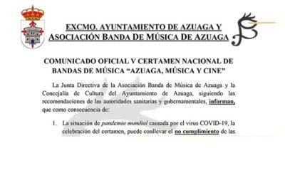 COMUNICADO CANCELACIÓN V Certamen Nacional de Bandas de Música